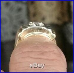 1 Carat Diamond Vintage Rare Mens Masonic 14k Yellow Gold Free Mason Ring