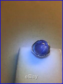 21.0 CARAT ESTATE VINTAGE GENUINE STAR SAPPHIRE platinum MEN'S RING size 4.5