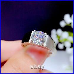 2Ct Round Cut Moissanite Solitaire Men's Engagement Ring Solid 14K White Gold Fn