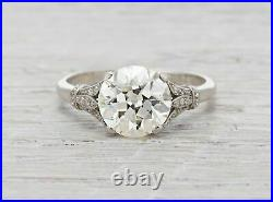 2.00 Ct Round Cut Diamond Vintage Style Engagement Ring In 14K White Gold Finish