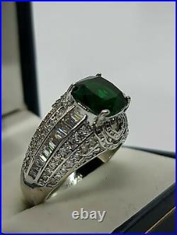 2.1Ct Emerald Men's Vintage Filigree Engagement & Wedding Ring 14K White Gold