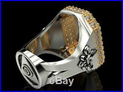2 Ct CZ Unique Vintage Gothic Large Lion In 925 Sterling Silver Men's Biker Ring