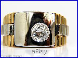 $3500.60ct Natural Diamond Mens Ring Vintage 14kt 2 Toned