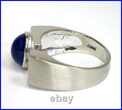 3.55C Vintage estate mens F diamond star sapphire ring 14K WithG oval round sz 8.5