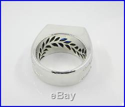 4.29 Vintage 14k White Gold Sapphire Old Mine Diamond Mens Ring Appraisal $10100