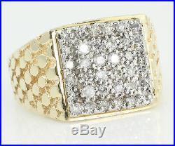 50 CT Natural Diamond Mans Ring 10K Yellow Gold Nugget Size 11.25 Vintage 8.9 g