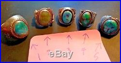 5 Vintage Southwestern Turquoise Rings Jewelry Tribal Lot Collection Mens/Ladies