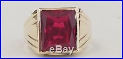5 ctw Vintage Art Deco Fine 10k Solid Gold Ruby Men's Ring size 9.25