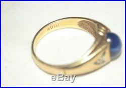 60s Vintage 10k Yellow Gold MCM Mod Star Sapphire & Diamond Mens Ring 4.5g Sz 10