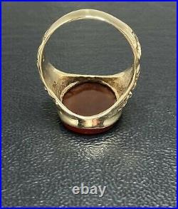 9ct Intaglio Seal Gold Ring Carnelian Stylish QTY Mens Vintage 1970's SizeW 7.4g