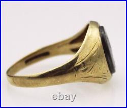 9ct Mens Ring Yellow Gold Haematite Intaglio Jewellery Jewelry Sz X Vintage 9K