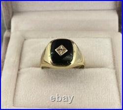 9ct Yellow Gold Vintage Mens Onyx & Diamond Signet Ring Size S UK Hallmarked