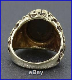 AAA Grade Opal Triplet & 9ct Yellow Gold Wide Band Patterned Vintage Mens Ring