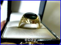 ANTIQUE ESTATE 14K YELLOW GOLD MENS SIGNET-RING with NATURAL BLOODSTONE