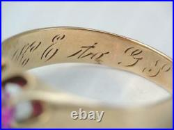 ANTIQUE MENS VICTORIAN SOLID 10K ROSE GOLD. 85 CT RUBY RING sz 10