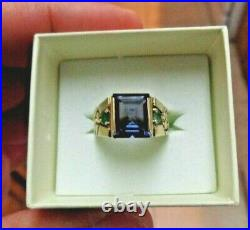 Alexandrite & Genuine Emerald Solid Gold Mens Strong Color Change Ring size 9.5
