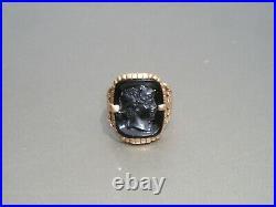 Antique 10K Rose Gold Black Stone Cameo Ornate Men's Women's Ring Size 9 1/2