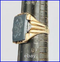 Antique 10k Solid Yellow Gold Hematite Intaglio & Diamond Mens Ring Size 8