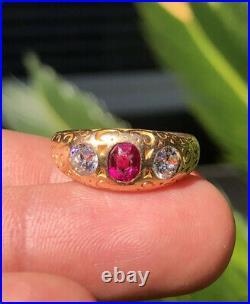 Antique 14k Gold 1.00ct Old European Cut Diamond & Ruby Gypsy 3 Stone Men's Ring