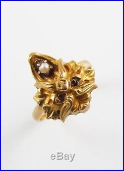Antique 14k Gold Art Nouveau North Wind Man Pearl Conversion Ring Size 5.5