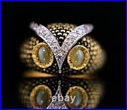 Antique 18K Gold & Platinum VS Diamond Cat's Eye Men's Owl Ring