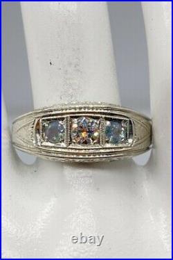 Antique 1920 $6000 1ct Diamond Natural Alexandrite 20k White Gold Mens Ring 10g