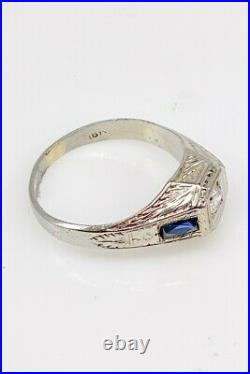 Antique 1920s 1ct Old Euro VS H Diamond Blue Sapphire 18k White Gold Mens Ring