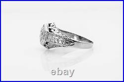 Antique 1920s $3500.40ct Old Euro VS H Diamond 18k White Gold Mens Ring Band