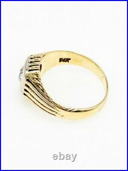 Antique 1920s $4500.85ct Old Euro SI1 J Diamond 14k Yellow Gold Mens RING Band
