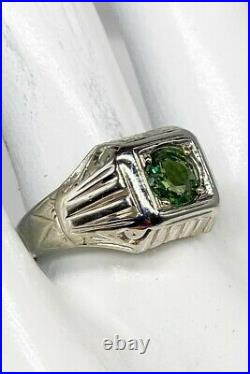 Antique 1920s $5000 1.50ct Natural Green Sapphire 18k White Gold Mens Ring Band