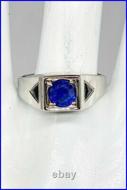 Antique 1920s Belais 1.50ct CERT NO HEAT Blue Sapphire 18k White Gold Mens Ring