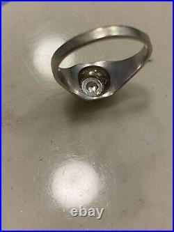Antique 1920s Deco Mens 14K White Gold Diamond Ring