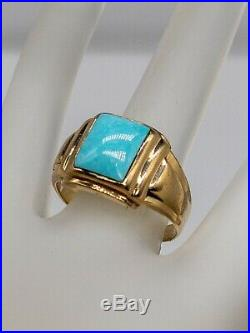 Antique 1930s 4ct Natural Turquoise Gem 10k Yellow Gold Mens Ring Band
