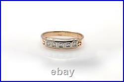 Antique 1940s. 25ct Diamond 5 Stone 14k Yellow Gold Platinum Mens Band Ring