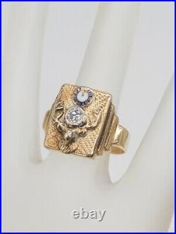 Antique 1940s $3400 ELKS CLUB BPOE. 50ct SI1 H Diamond 14k Yellow Gold Mens Ring
