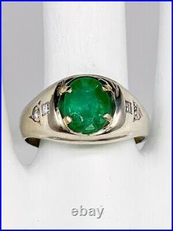 Antique 1940s $5000 4ct Colombian Emerald VS G Diamond 14k White Gold Mens Ring