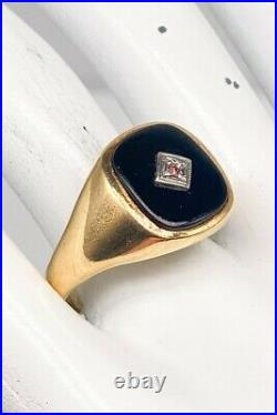 Antique 1940s Natural 5ct Black Onyx Pink Diamond 14k Yellow Gold Mens Ring Band
