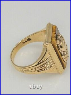 Antique 1940s RETRO 7ct TIGER EYE GEM Soldier 10k Yellow Gold Mens Ring Band 8g