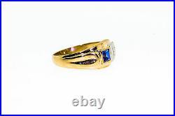 Antique 1940s Retro. 65ct Blue Sapphire Diamond 14k Gold 8mm Mens Band Ring 6g