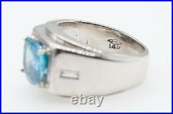 Antique 1940s Signed MC $5000 4ct Blue Zircon Diamond 14k White Gold Mens Ring