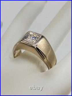 Antique 1950s $4000.60ct SI1 H Round Diamond 14k White Gold Mens Ring Band 9g