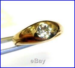 Antique 1/2CT Mine Diamond Sleek 14K Yellow Gold Victorian Men's Ring Size 6.5