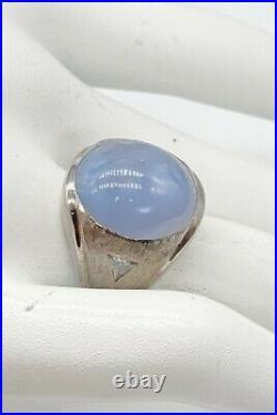 Antique $20,000 40ct Natural Blue STAR Sapphire Diamond 14k White Gold Mens Ring