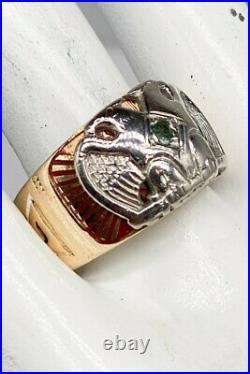 Antique $3000 MASONIC 14k Yellow Gold Platinum EAGLE Alexandrite Mens Ring 13g
