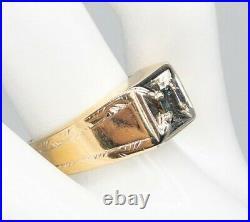 Antique $3400.50ct Cushion Cut Natural Alexandrite 14k Yellow Gold Mens Ring
