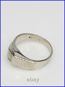 Antique $3K 1ct Natural CAT EYE Alexandrite Chrysoberyl 14k White Gold Mens Ring