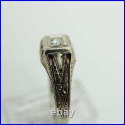 Antique Art Deco Mens Diamond Ring 14K White Gold 1920's Size 8.75