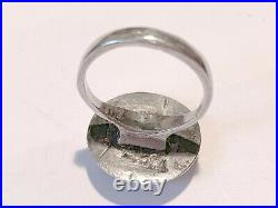 Antique Art Nouveau Man On The Moon Face Sterling Silver Ring Size 5.25