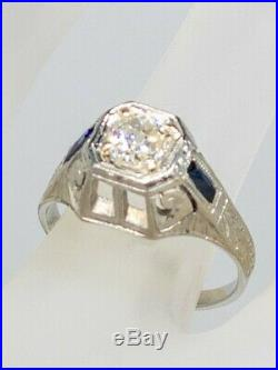 Antique BELAIS 1920s 1ct VS2 K Old Cut Diamond Sapphire 18k Gold Mens Ring Band