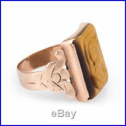 Antique Deco Mens Intaglio Tigers Eye Warrior Ring Vintage 10k Rose Gold Estate
